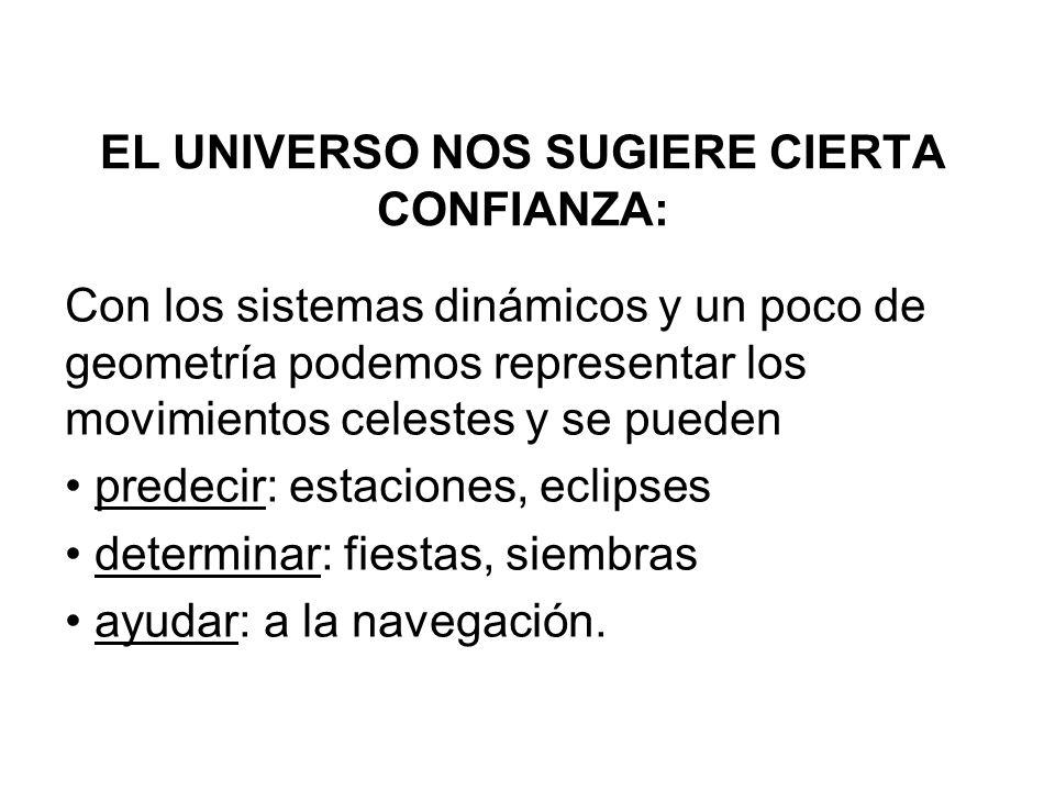 EL UNIVERSO NOS SUGIERE CIERTA CONFIANZA: Con los sistemas dinámicos y un poco de geometría podemos representar los movimientos celestes y se pueden p