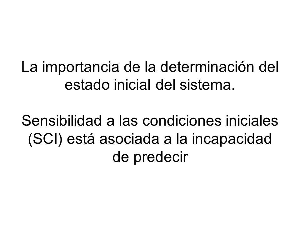 La importancia de la determinación del estado inicial del sistema. Sensibilidad a las condiciones iniciales (SCI) está asociada a la incapacidad de pr