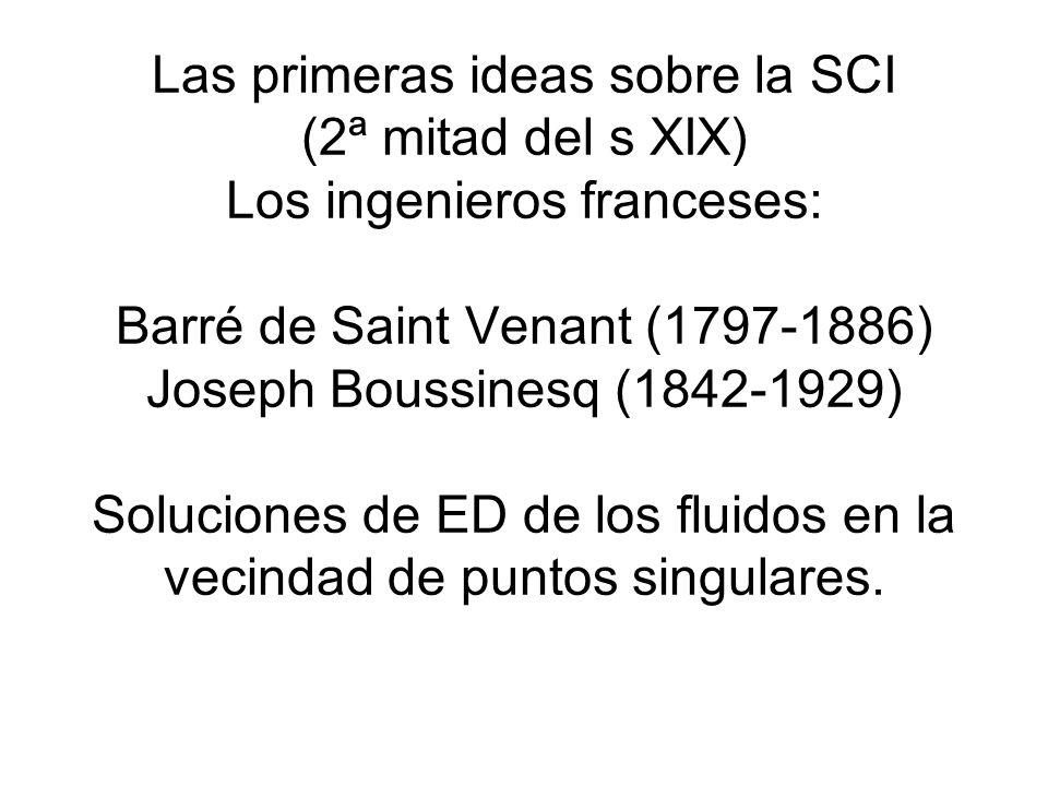 Las primeras ideas sobre la SCI (2ª mitad del s XIX) Los ingenieros franceses: Barré de Saint Venant (1797-1886) Joseph Boussinesq (1842-1929) Solucio