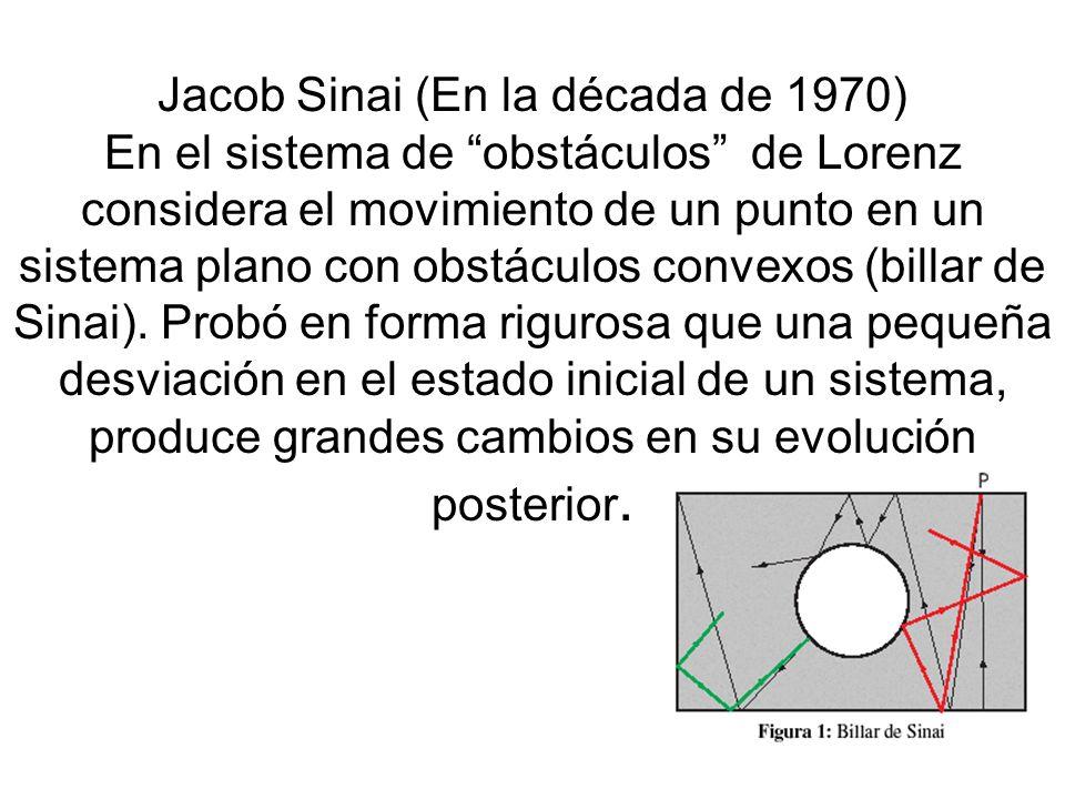 Jacob Sinai (En la década de 1970) En el sistema de obstáculos de Lorenz considera el movimiento de un punto en un sistema plano con obstáculos convex