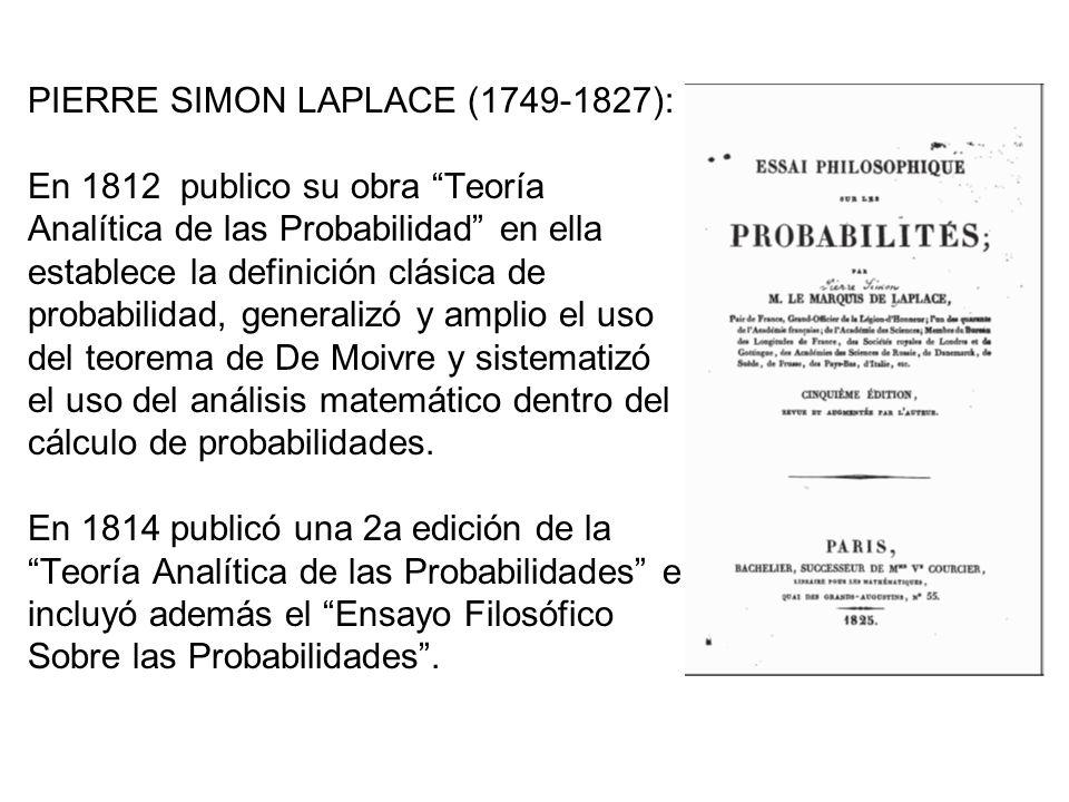 PIERRE SIMON LAPLACE (1749-1827): En 1812 publico su obra Teoría Analítica de las Probabilidad en ella establece la definición clásica de probabilidad