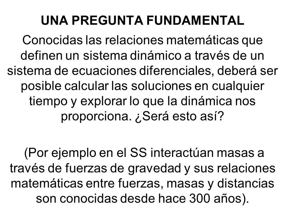 UNA PREGUNTA FUNDAMENTAL Conocidas las relaciones matemáticas que definen un sistema dinámico a través de un sistema de ecuaciones diferenciales, debe