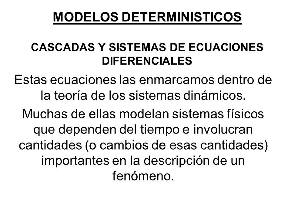 MODELOS DETERMINISTICOS CASCADAS Y SISTEMAS DE ECUACIONES DIFERENCIALES Estas ecuaciones las enmarcamos dentro de la teoría de los sistemas dinámicos.