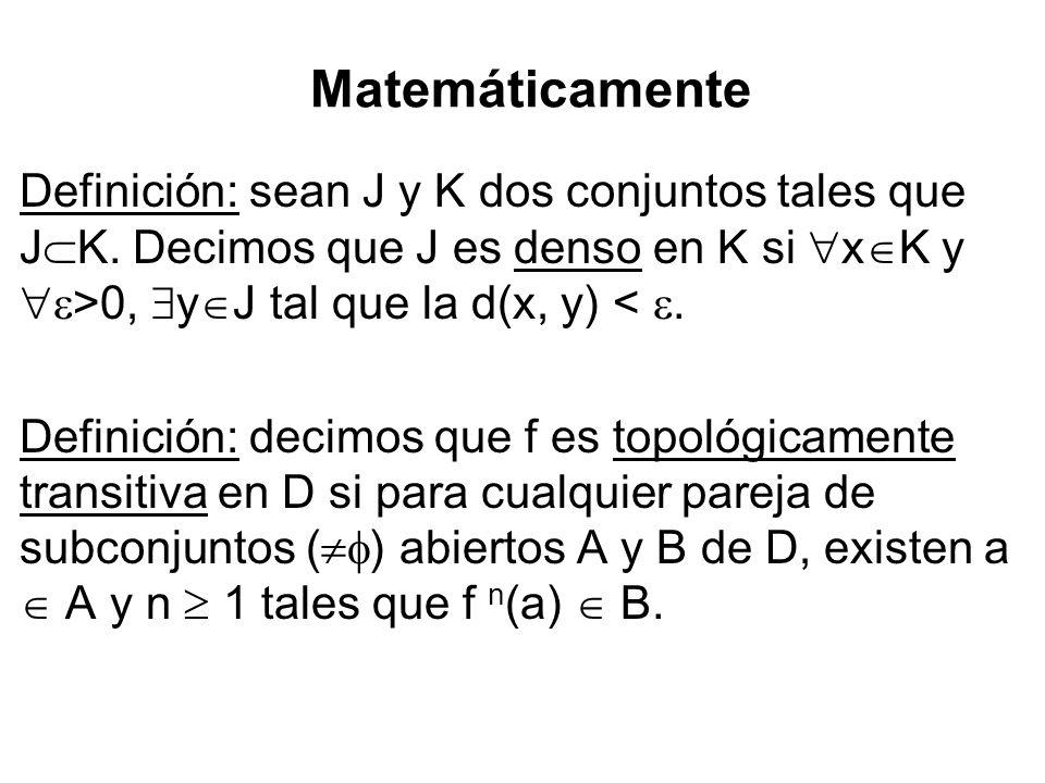 Matemáticamente Definición: sean J y K dos conjuntos tales que J K. Decimos que J es denso en K si x K y >0, y J tal que la d(x, y) <. Definición: dec