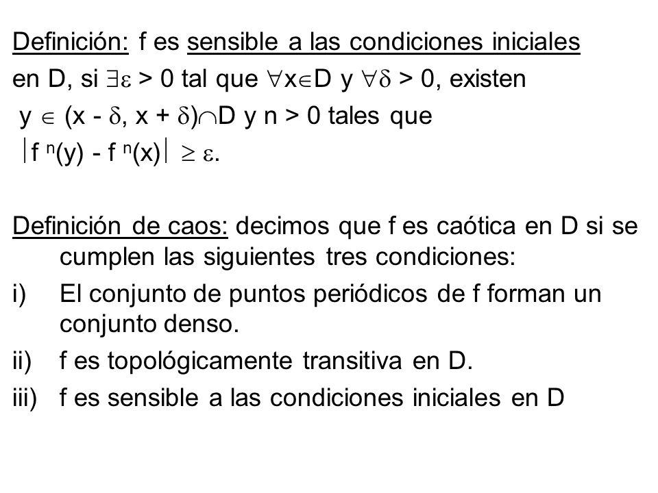 Definición: f es sensible a las condiciones iniciales en D, si > 0 tal que x D y > 0, existen y (x -, x + ) D y n > 0 tales que f n (y) - f n (x). Def