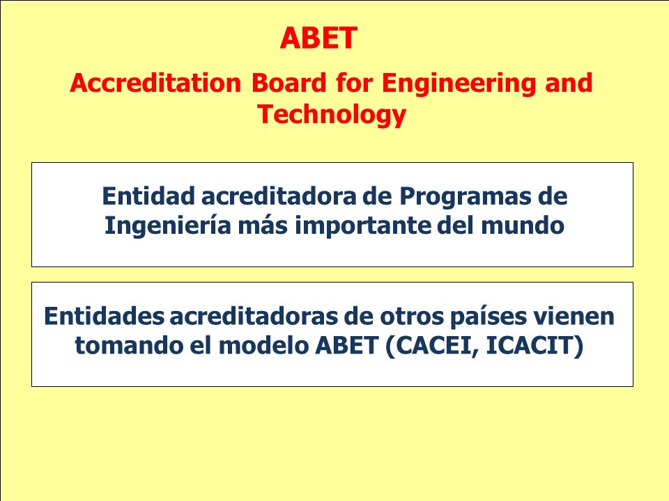 ABET Entidad acreditadora de Programas de Ingeniería más importante del mundo Accreditation Board for Engineering and Technology Entidades acreditador