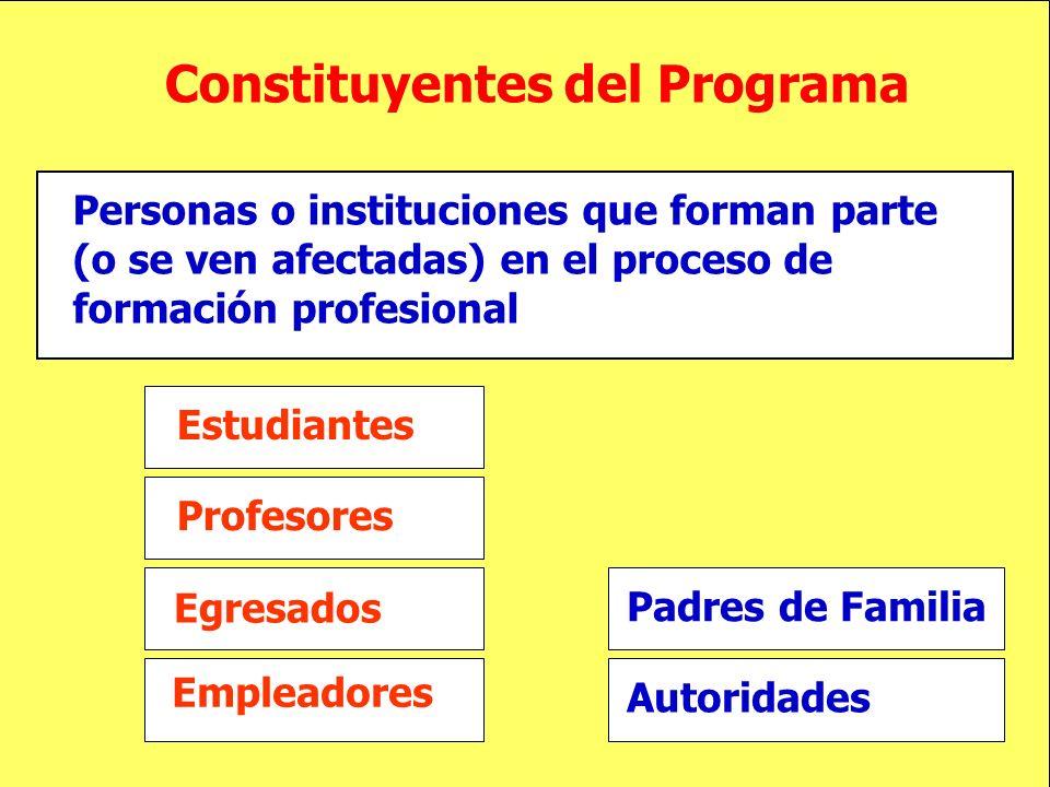 Constituyentes del Programa Personas o instituciones que forman parte (o se ven afectadas) en el proceso de formación profesional Estudiantes Profesor