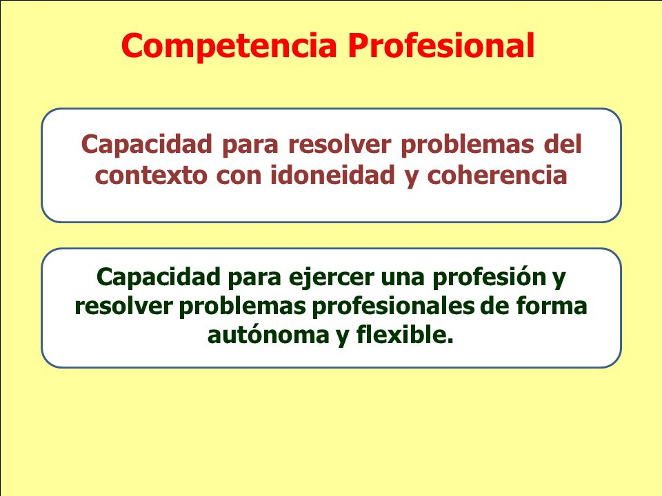 Competencia Profesional Capacidad para resolver problemas del contexto con idoneidad y coherencia Capacidad para ejercer una profesión y resolver prob