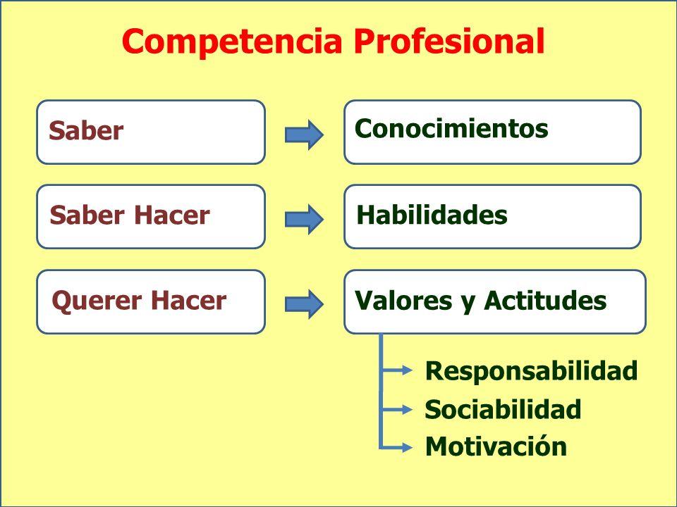 Competencia Profesional Saber Saber Hacer Querer Hacer Conocimientos Habilidades Valores y Actitudes Motivación Responsabilidad Sociabilidad