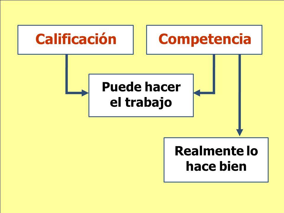 Calificación Competencia Realmente lo hace bien Puede hacer el trabajo