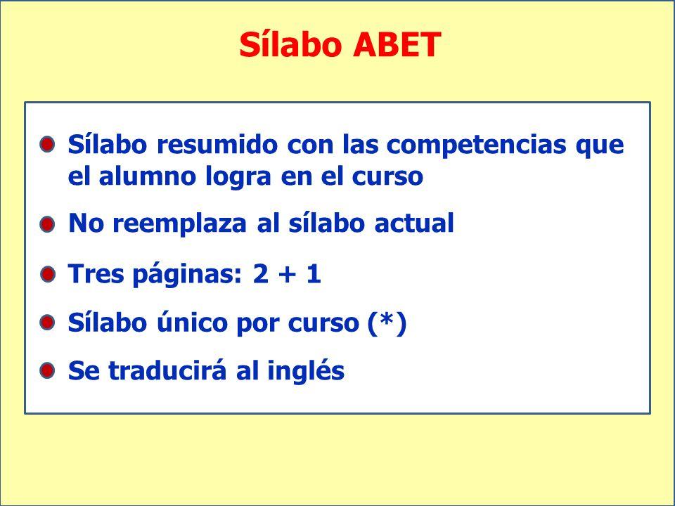 Sílabo ABET Sílabo resumido con las competencias que el alumno logra en el curso No reemplaza al sílabo actual Tres páginas: 2 + 1 Sílabo único por cu