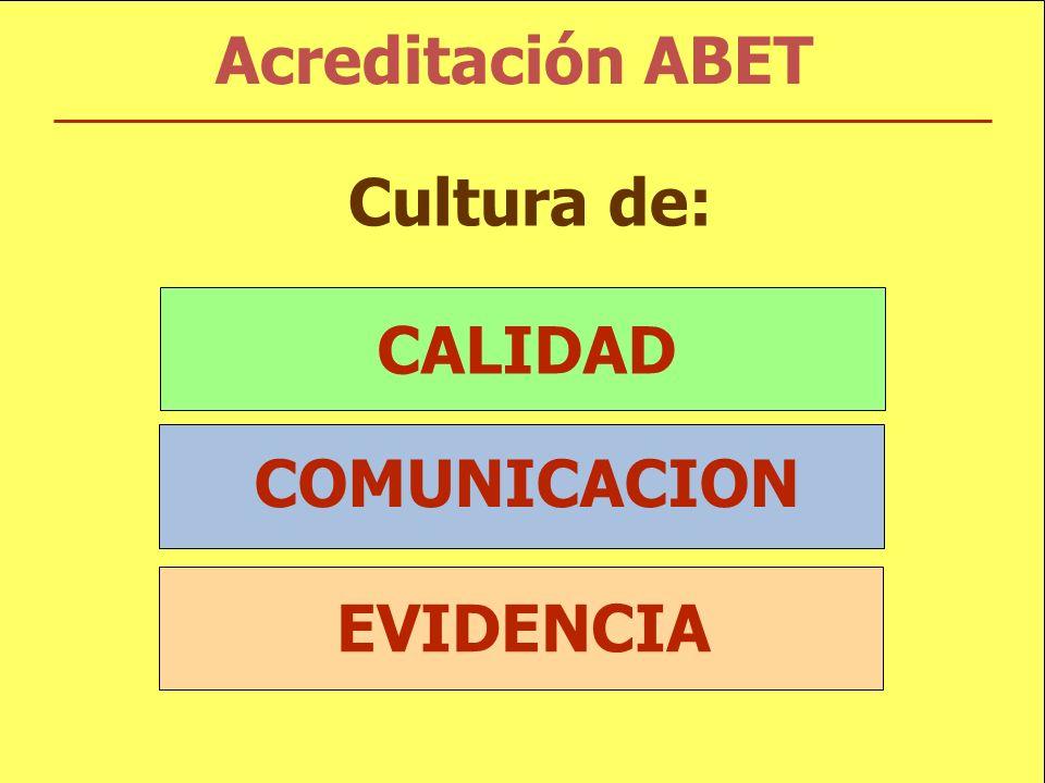 Acreditación ABET CALIDAD COMUNICACION EVIDENCIA Cultura de: