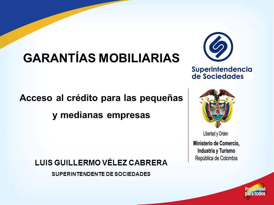 GARANTÍAS MOBILIARIAS Acceso al crédito para las pequeñas y medianas empresas LUIS GUILLERMO VÉLEZ CABRERA SUPERINTENDENTE DE SOCIEDADES