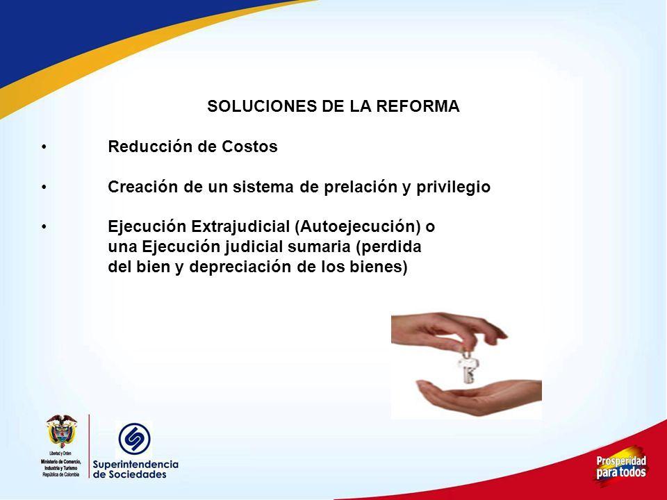 SOLUCIONES DE LA REFORMA Reducción de Costos Creación de un sistema de prelación y privilegio Ejecución Extrajudicial (Autoejecución) o una Ejecución