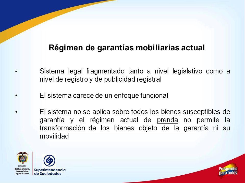 Régimen de garantías mobiliarias actual Sistema legal fragmentado tanto a nivel legislativo como a nivel de registro y de publicidad registral El sist