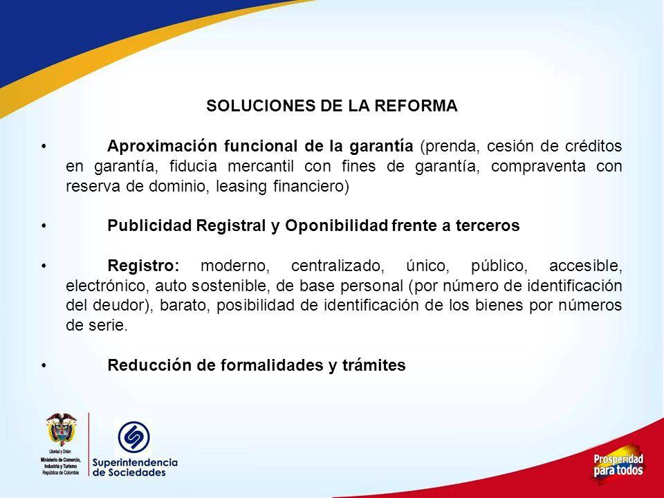 SOLUCIONES DE LA REFORMA Aproximación funcional de la garantía (prenda, cesión de créditos en garantía, fiducia mercantil con fines de garantía, compr