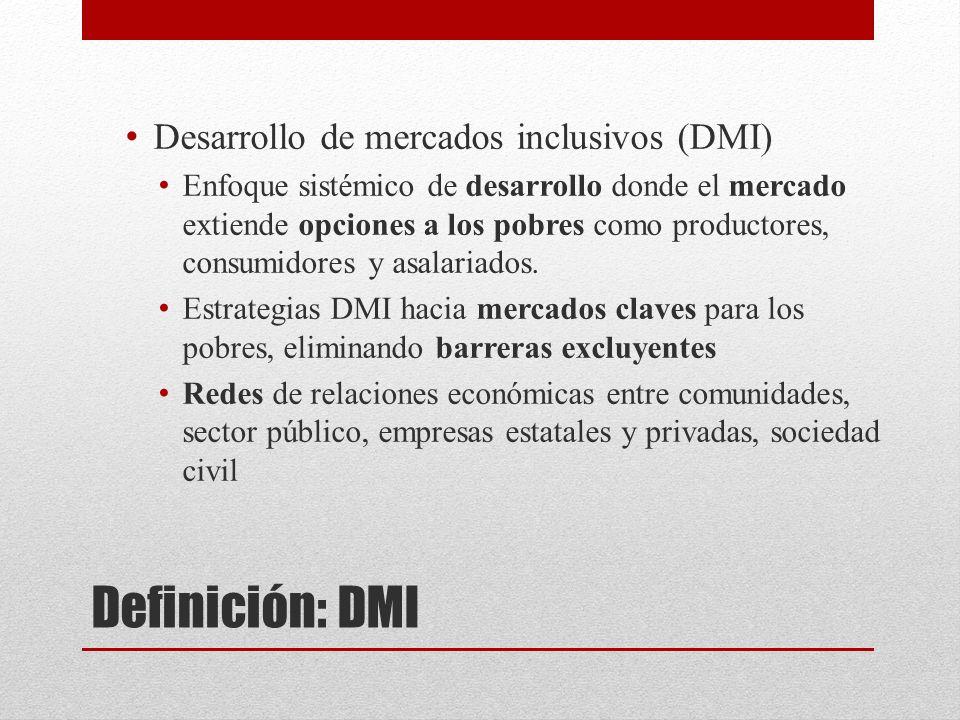 Definición: DMI Desarrollo de mercados inclusivos (DMI) Enfoque sistémico de desarrollo donde el mercado extiende opciones a los pobres como productores, consumidores y asalariados.