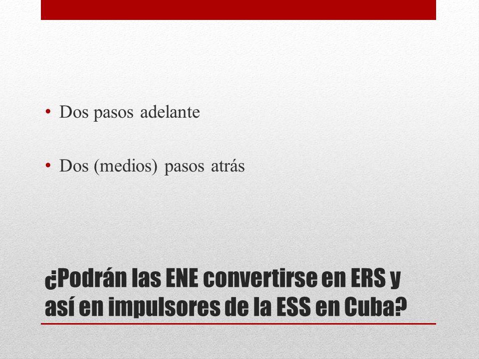 ¿Podrán las ENE convertirse en ERS y así en impulsores de la ESS en Cuba? Dos pasos adelante Dos (medios) pasos atrás
