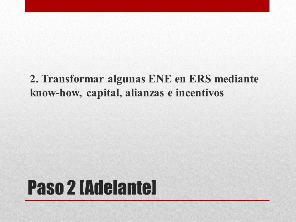 Paso 2 [Adelante] 2. Transformar algunas ENE en ERS mediante know-how, capital, alianzas e incentivos