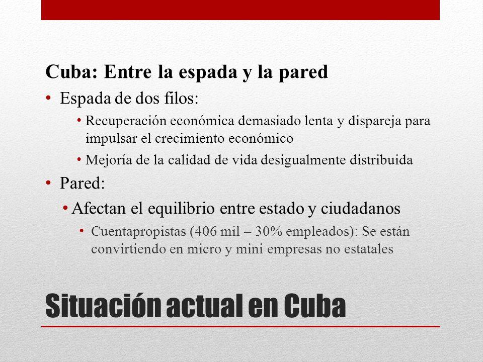 Situación actual en Cuba Cuba: Entre la espada y la pared Espada de dos filos: Recuperación económica demasiado lenta y dispareja para impulsar el cre