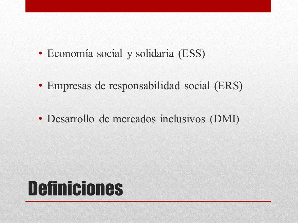 Definiciones Economía social y solidaria (ESS) Empresas de responsabilidad social (ERS) Desarrollo de mercados inclusivos (DMI)