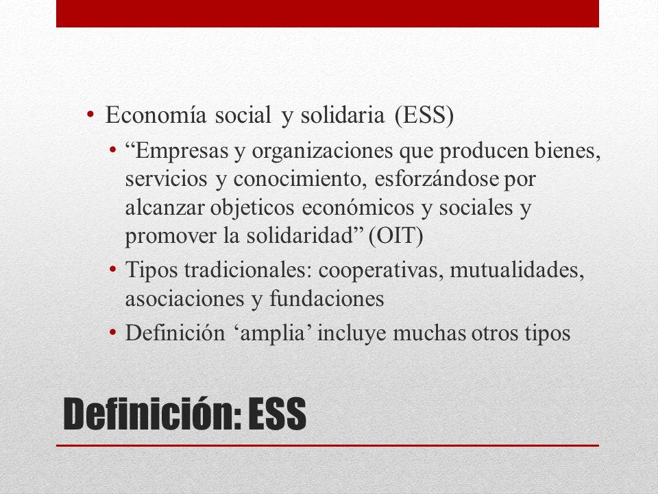 Definición: ESS Economía social y solidaria (ESS) Empresas y organizaciones que producen bienes, servicios y conocimiento, esforzándose por alcanzar objeticos económicos y sociales y promover la solidaridad (OIT) Tipos tradicionales: cooperativas, mutualidades, asociaciones y fundaciones Definición amplia incluye muchas otros tipos