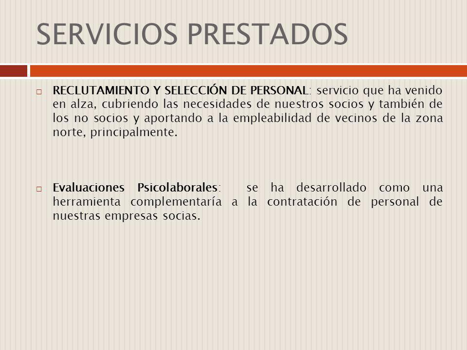 SERVICIOS PRESTADOS RECLUTAMIENTO Y SELECCIÓN DE PERSONAL: servicio que ha venido en alza, cubriendo las necesidades de nuestros socios y también de l