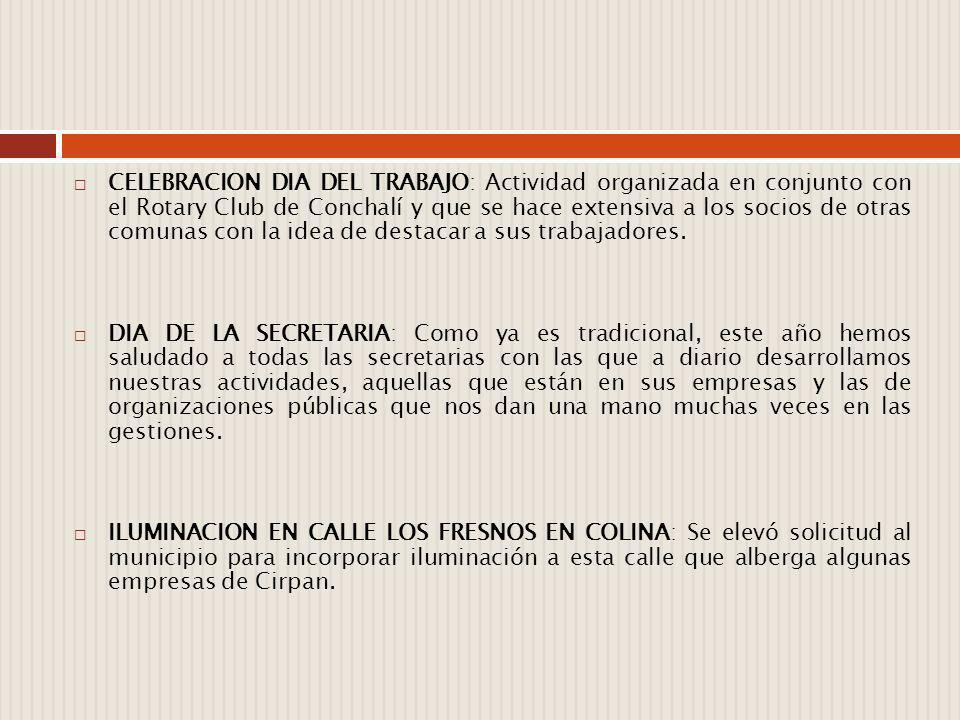 CELEBRACION DIA DEL TRABAJO: Actividad organizada en conjunto con el Rotary Club de Conchalí y que se hace extensiva a los socios de otras comunas con