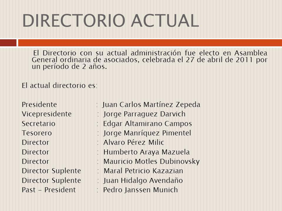 DIRECTORIO ACTUAL El Directorio con su actual administración fue electo en Asamblea General ordinaria de asociados, celebrada el 27 de abril de 2011 p