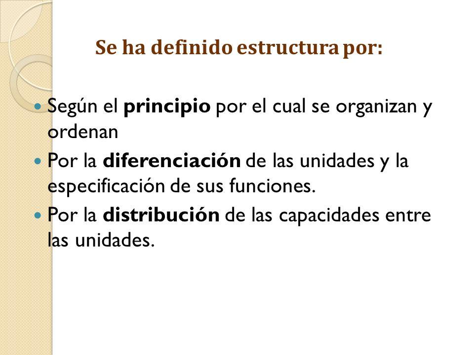 Se ha definido estructura por: Según el principio por el cual se organizan y ordenan Por la diferenciación de las unidades y la especificación de sus