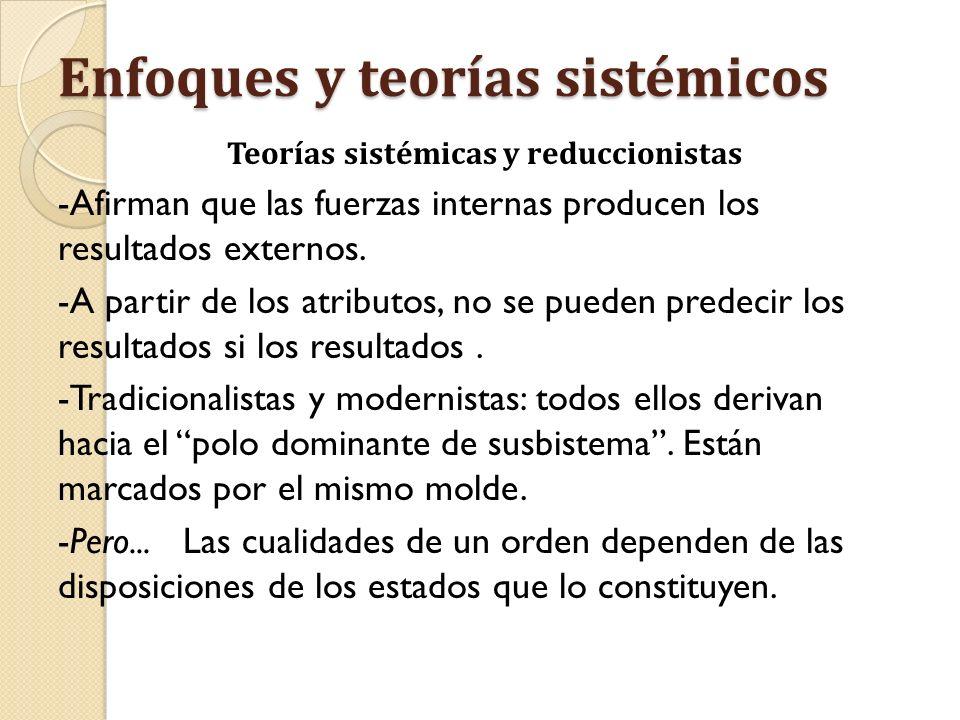 Enfoques y teorías sistémicos Teorías sistémicas y reduccionistas -Afirman que las fuerzas internas producen los resultados externos. -A partir de los