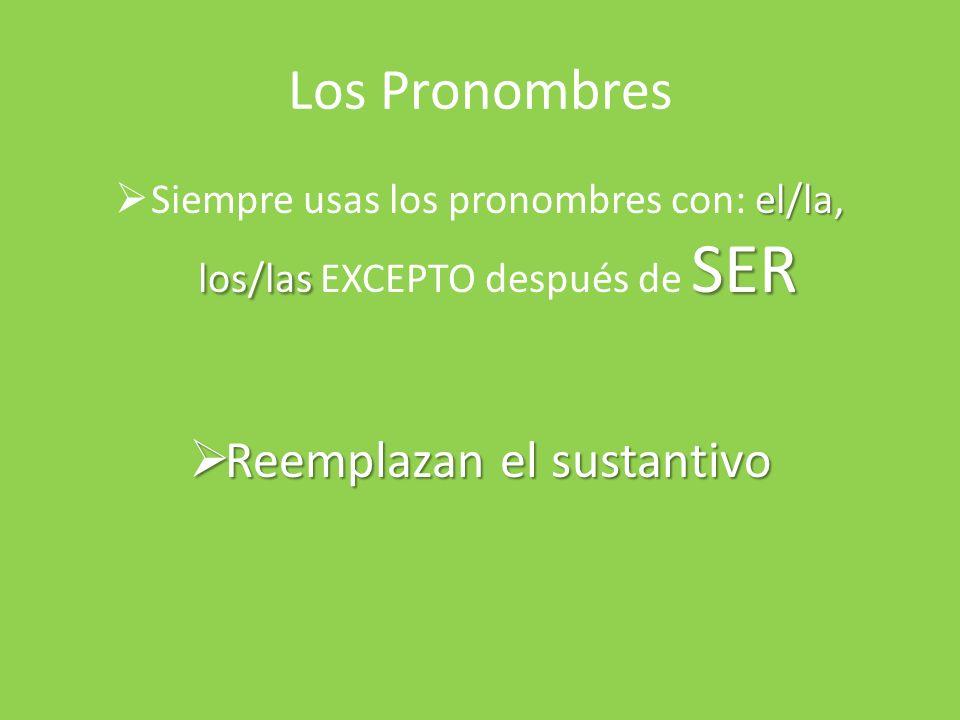 Los Pronombres el/la, los/las SER Siempre usas los pronombres con: el/la, los/las EXCEPTO después de SER Reemplazan el sustantivo Reemplazan el sustan