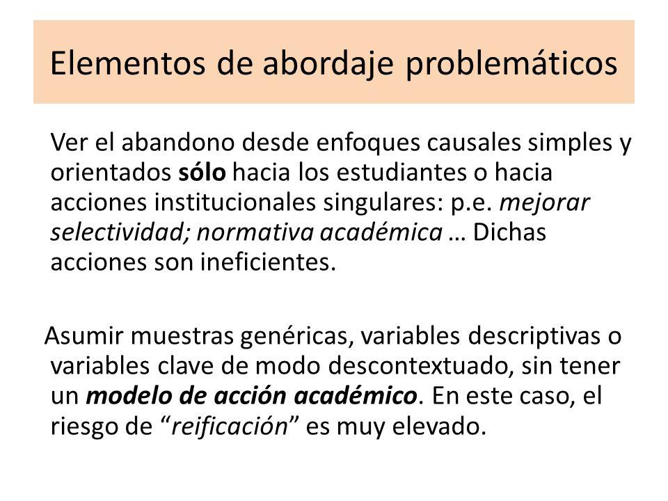 Elementos de abordaje problemáticos Ver el abandono desde enfoques causales simples y orientados sólo hacia los estudiantes o hacia acciones instituci