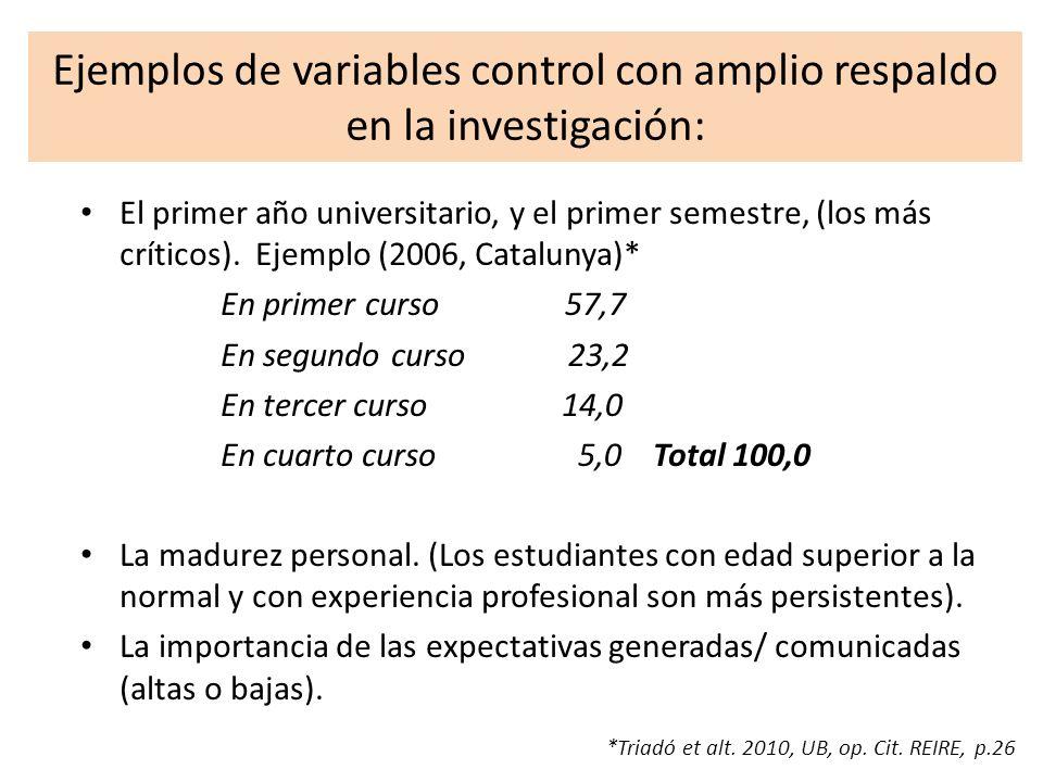 Ejemplos de variables control con amplio respaldo en la investigación: El primer año universitario, y el primer semestre, (los más críticos). Ejemplo