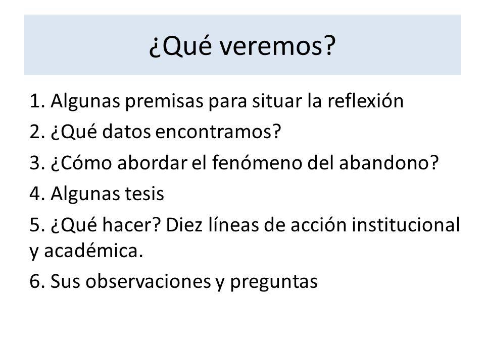 ¿Qué veremos? 1. Algunas premisas para situar la reflexión 2. ¿Qué datos encontramos? 3. ¿Cómo abordar el fenómeno del abandono? 4. Algunas tesis 5. ¿