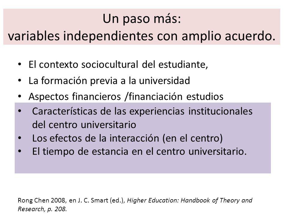 Un paso más: variables independientes con amplio acuerdo. El contexto sociocultural del estudiante, La formación previa a la universidad Aspectos fina
