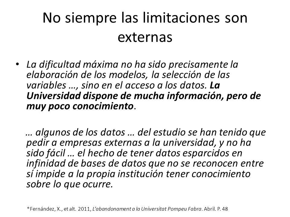 No siempre las limitaciones son externas La dificultad máxima no ha sido precisamente la elaboración de los modelos, la selección de las variables …,