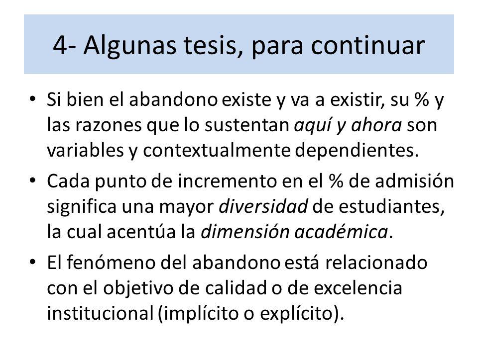 4- Algunas tesis, para continuar Si bien el abandono existe y va a existir, su % y las razones que lo sustentan aquí y ahora son variables y contextua