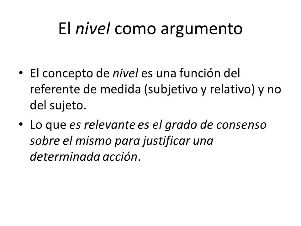 El nivel como argumento El concepto de nivel es una función del referente de medida (subjetivo y relativo) y no del sujeto. Lo que es relevante es el