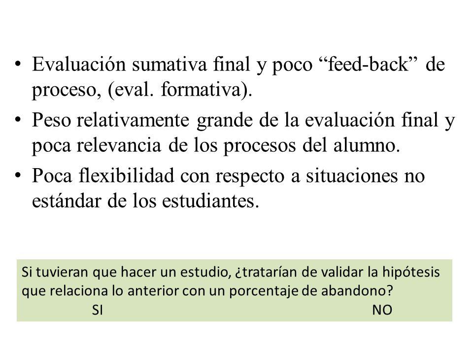 Evaluación sumativa final y poco feed-back de proceso, (eval. formativa). Peso relativamente grande de la evaluación final y poca relevancia de los pr