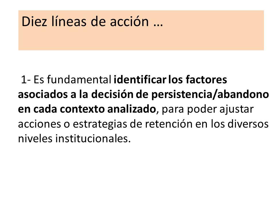 1- Es fundamental identificar los factores asociados a la decisión de persistencia/abandono en cada contexto analizado, para poder ajustar acciones o