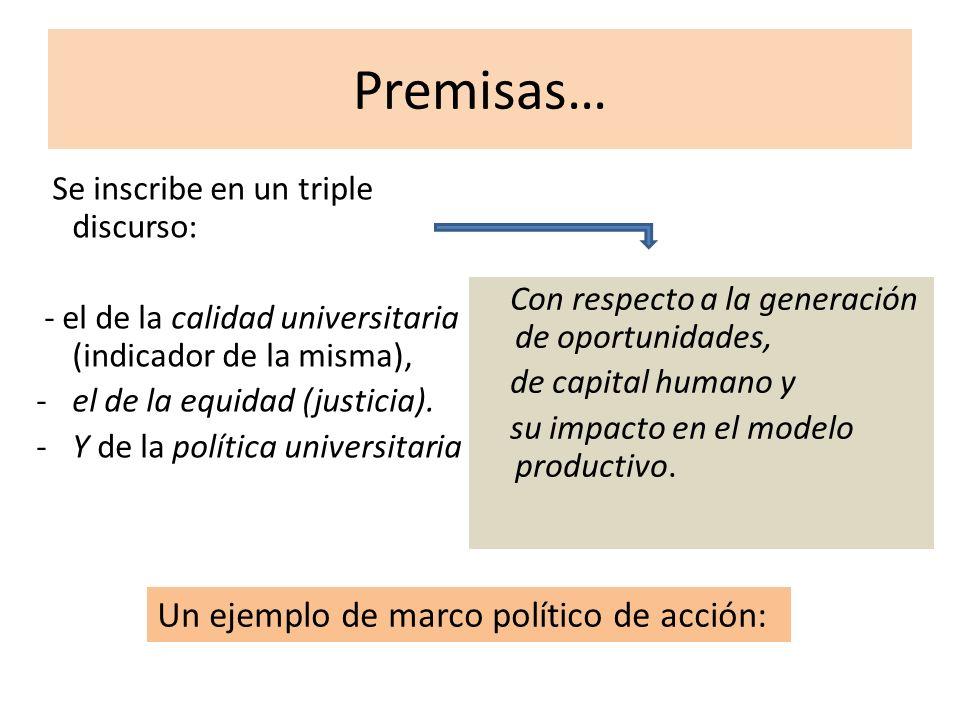 Premisas… Se inscribe en un triple discurso: - el de la calidad universitaria (indicador de la misma), -el de la equidad (justicia). -Y de la política