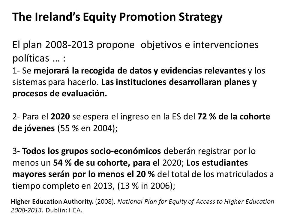 4.Se incrementarán las plazas de tiempo flexible/ parcial hasta el 17 % en 2013 (7 % in 2006); 5.Se desarrollaran vías de entrada no convencionales en la ES para que constituya la opción del 30 % de todas las matrícular para 2013 (estimadas en el 24 % en 2006); 6.Irlanda alcanzará el promedio EU de nivel de aprendizaje a lo largo de la vida en el 2010 … 7.El numero de estudiantes con discapacidades sensoriales, físicas y múltiples en ES se doblará en 2013.