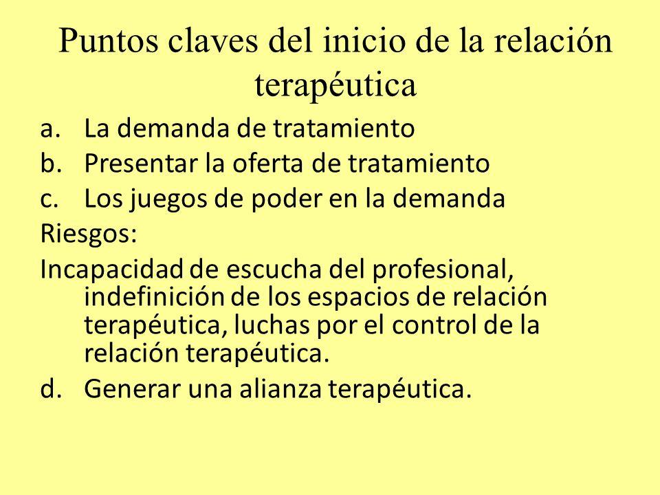 Puntos claves del inicio de la relación terapéutica a.La demanda de tratamiento b.Presentar la oferta de tratamiento c.Los juegos de poder en la deman