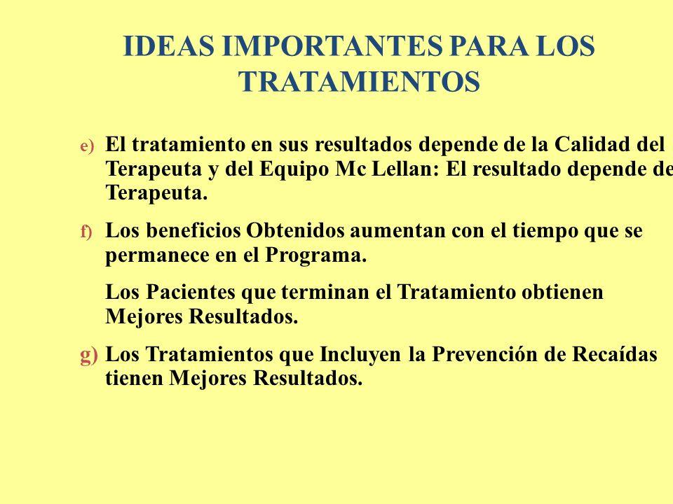 e) El tratamiento en sus resultados depende de la Calidad del Terapeuta y del Equipo Mc Lellan: El resultado depende del Terapeuta. f) Los beneficios