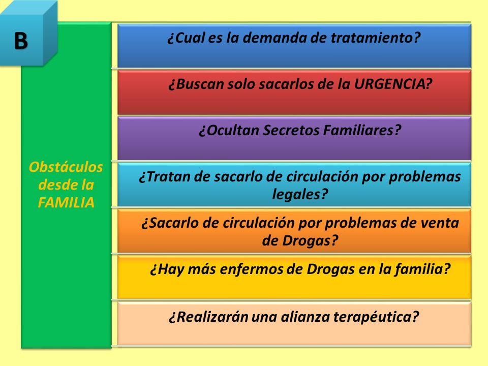 Obstáculos desde la FAMILIA ¿Cual es la demanda de tratamiento? ¿Buscan solo sacarlos de la URGENCIA? ¿Ocultan Secretos Familiares? ¿Tratan de sacarlo