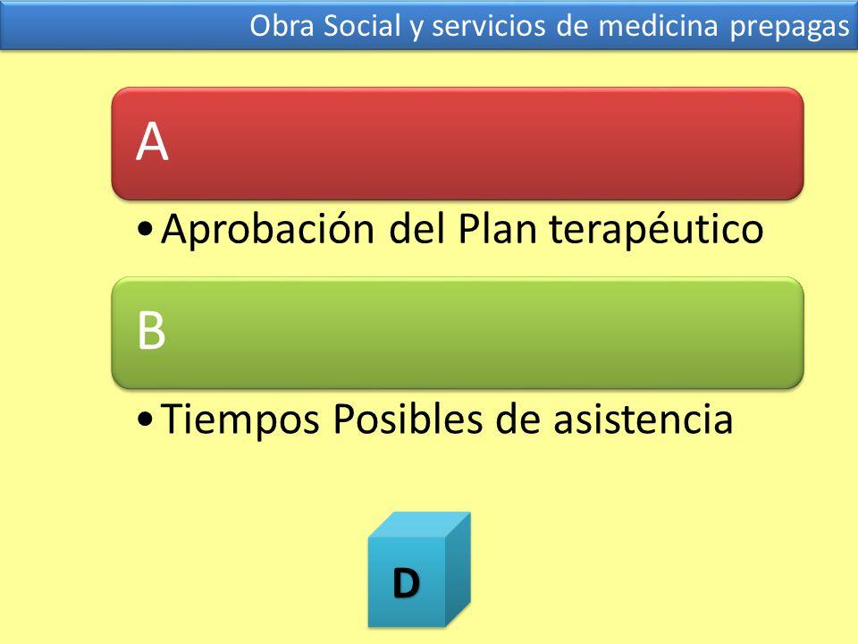 Obra Social y servicios de medicina prepagas A Aprobación del Plan terapéutico B Tiempos Posibles de asistenciaDD