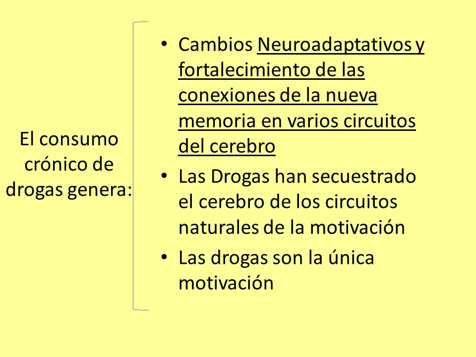 El consumo crónico de drogas genera: Cambios Neuroadaptativos y fortalecimiento de las conexiones de la nueva memoria en varios circuitos del cerebro