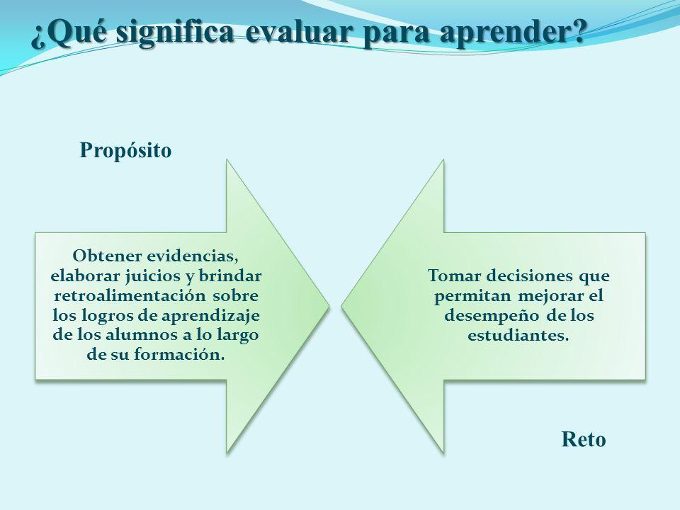 ¿Qué significa evaluar para aprender? Obtener evidencias, elaborar juicios y brindar retroalimentación sobre los logros de aprendizaje de los alumnos
