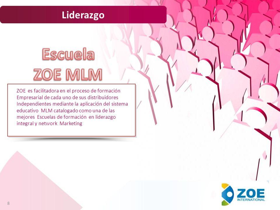8 Liderazgo ZOE es facilitadora en el proceso de formación Empresarial de cada uno de sus distribuidores Independientes mediante la aplicación del sis
